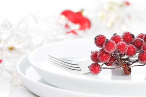 a festive white plate set with a fork and cranberries